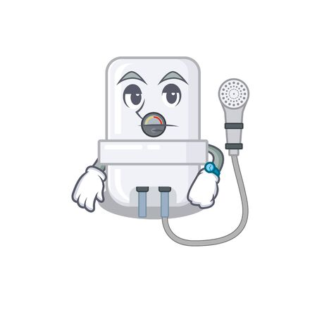 Mascot design style of electric water heater with waiting gesture