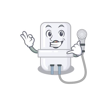 Caricature design of electric water heater showing call me funny gesture