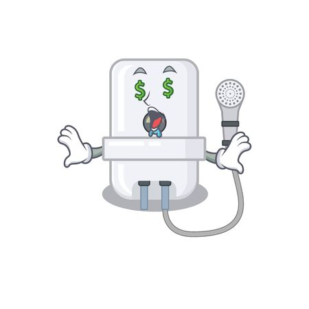 wealthy cartoon character concept of electric water heater with money eyes Illustration