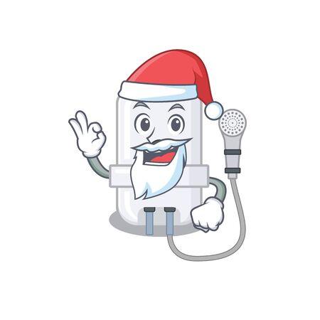 cartoon character of electric water heater Santa having cute ok finger Illustration
