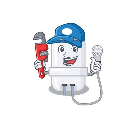cartoon character design of electric water heater as a Plumber with tool Illustration