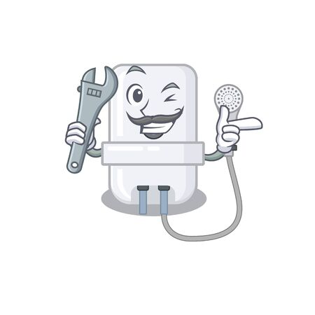 A caricature picture of electric water heater working as a mechanic Illustration