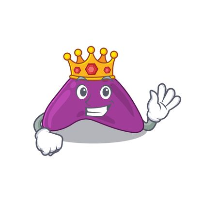 A Wise King of adrenal mascot design style with gold crown Illustration