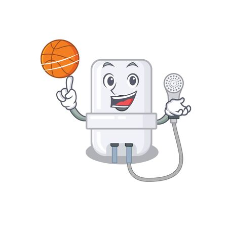Sporty cartoon mascot design of electric water heater with basketball Illustration