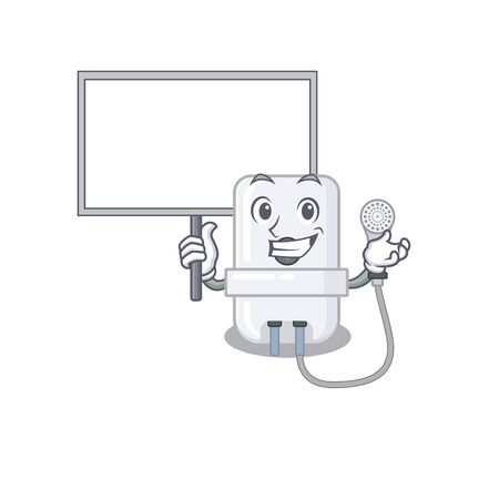 Cartoon picture of electric water heater mascot design style carries a board