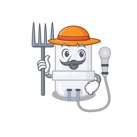 electric water heater mascot design working as a Farmer wearing a hat