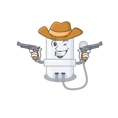 Cartoon character cowboy of electric water heater with guns Illustration