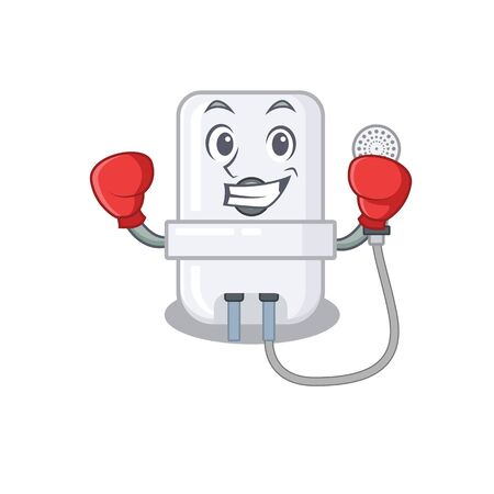 Mascot design of electric water heater as a sporty boxing athlete Иллюстрация