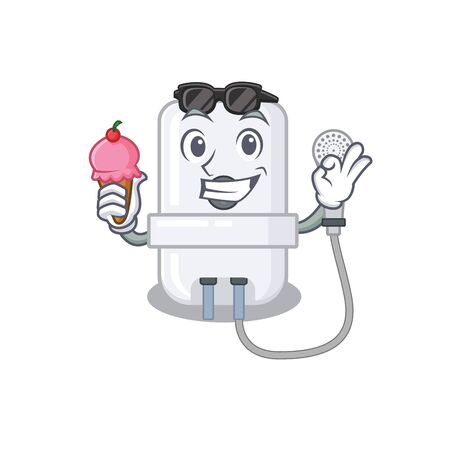 A cartoon drawing of electric water heater holding cone ice cream Иллюстрация