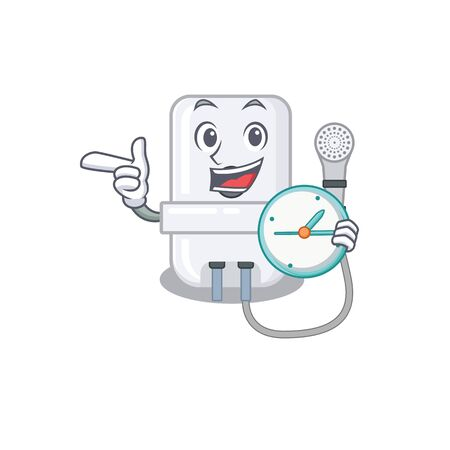 mascot design style of electric water heater standing with holding a clock