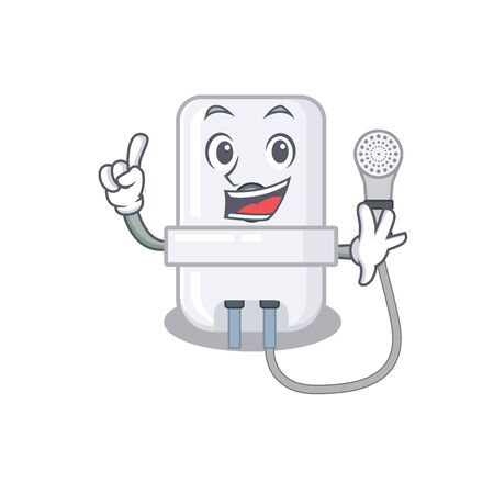 electric water heater caricature design style with one finger gesture