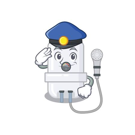 Police officer cartoon drawing of electric water heater wearing a blue hat