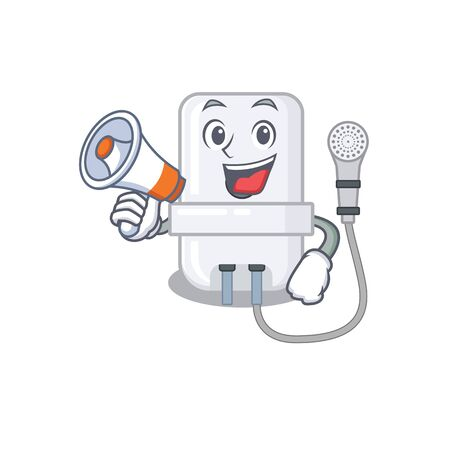 Mascot design of electric water heater announcing new products on a megaphone