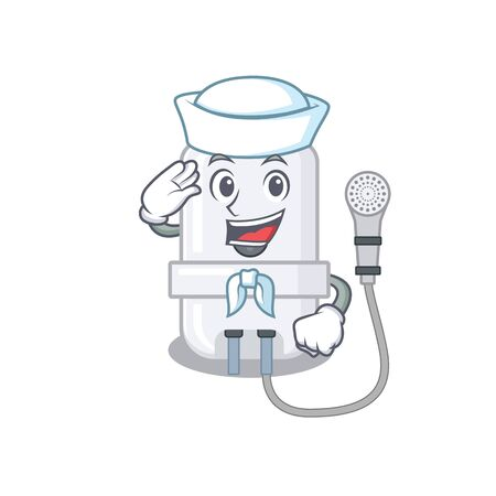 Smiley sailor cartoon character of electric water heater wearing white hat and tie
