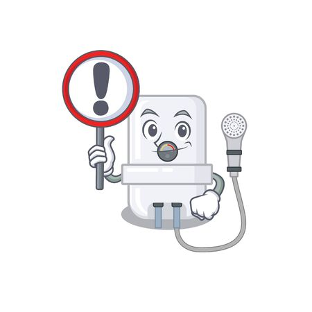 A cartoon icon of electric water heater with a exclamation sign board Иллюстрация
