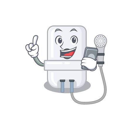 electric water heater caricature character speaking with friends on phone Иллюстрация