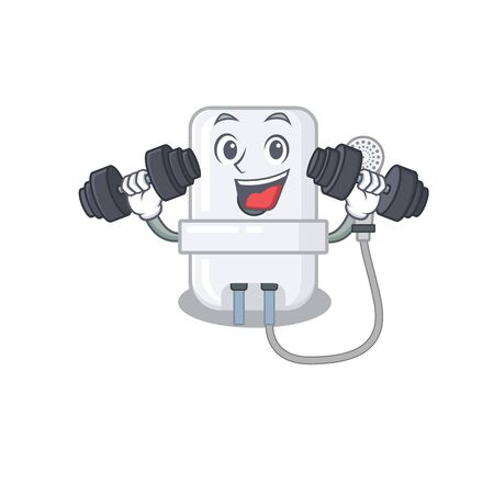 electric water heater mascot design feels happy lift up barbells during exercise