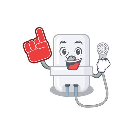 electric water heater in cartoon drawing character design with Foam finger