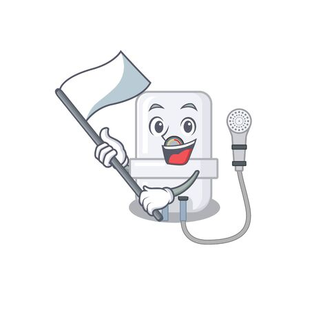 A heroic electric water heater mascot character design with white flag Ilustração