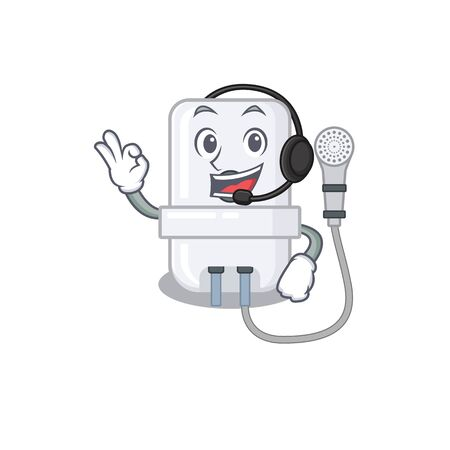 A stunning electric water heater mascot character concept wearing headphone