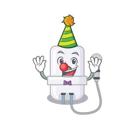 smiley clown electric water heater cartoon character design concept