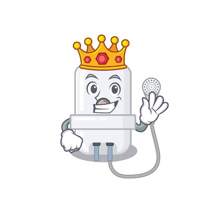 A Wise King of electric water heater mascot design style with gold crown Ilustração