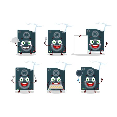 Cartoon character of loudspeaker with various chef emoticons