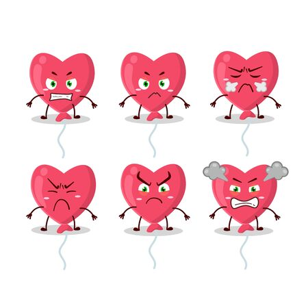 Red love baloon cartoon character with various angry expressions