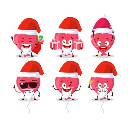 Santa Claus emoticons with red love baloon cartoon character