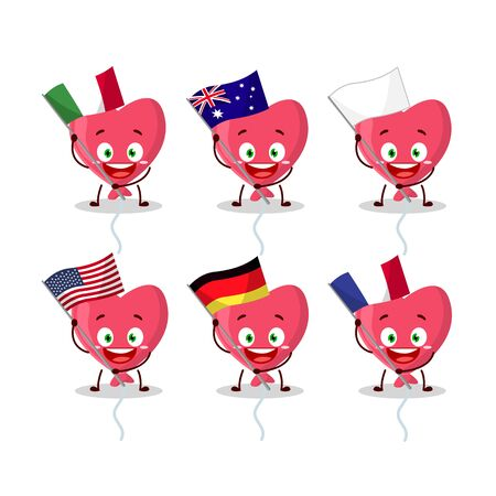 Red love baloon cartoon character bring the flags of various countries