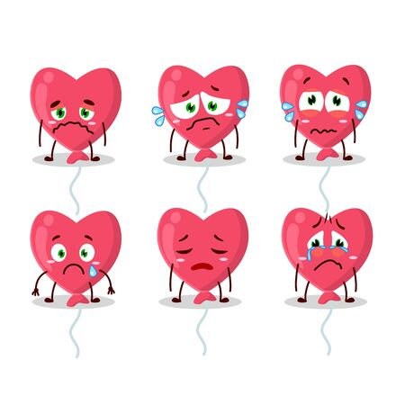 Red love baloon n cartoon character with sad expression Illustration