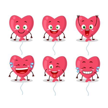 Cartoon character of red love baloon with smile expression Illusztráció