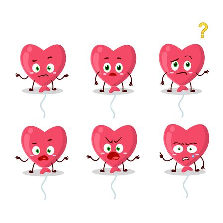 Cartoon character of red love baloon with what expression