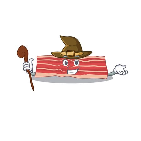 Bacon funny but sneaky witch cartoon character design