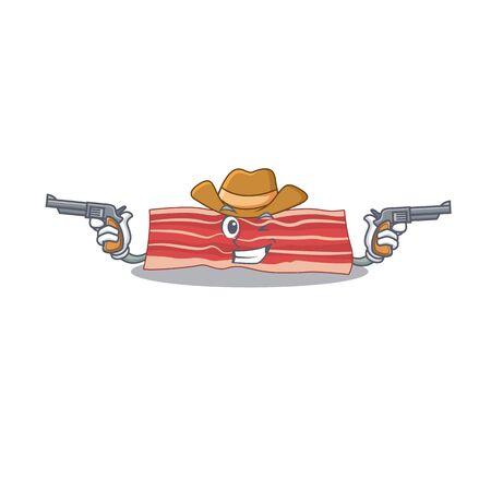 Cartoon character cowboy of bacon with guns