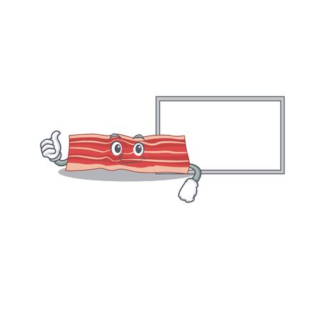 Bacon cartoon design with Thumbs up finger bring a white board
