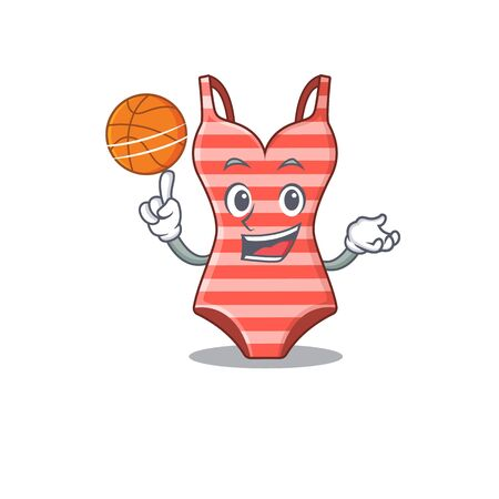 Sporty cartoon mascot design of swimsuit with basketball Illustration