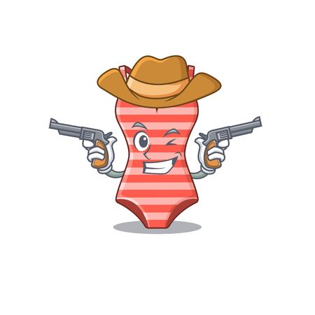 Cartoon character cowboy of swimsuit with guns