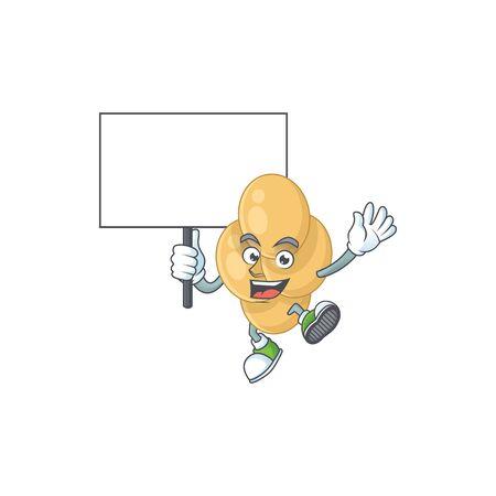 Cute bordetella pertussis mascot design smiley with rise up a board Ilustracja