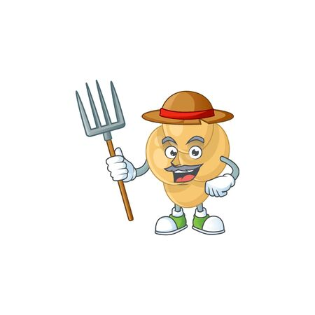 Caricature picture of Farmer bordetella pertussis with hat and pitchfork Vectores