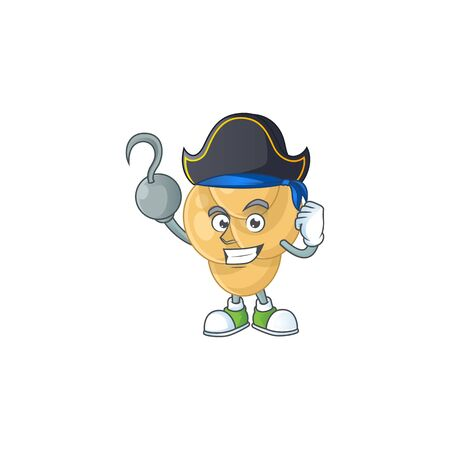 mascot design style of bordetella pertussis as a pirate having one hook hand