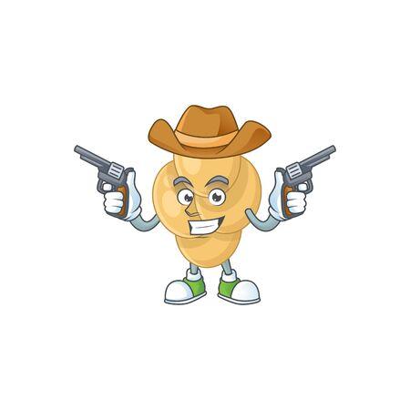 A masculine cowboy cartoon drawing of bordetella pertussis holding guns Vectores