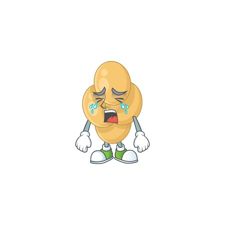 A crying bordetella pertussis cartoon character drawing concept Ilustracja