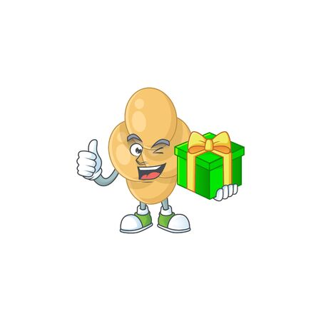 Happy smiley bordetella pertussis cartoon mascot design with a gift box Vectores