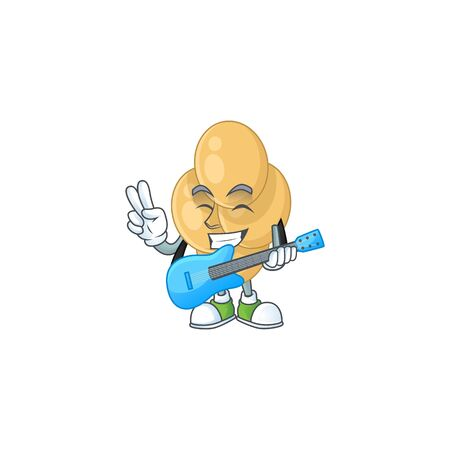 Bordetella pertussis cartoon character style plays music with a guitar