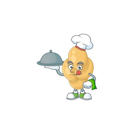 A bordetella pertussis chef cartoon mascot design with hat and tray. Vector illustration