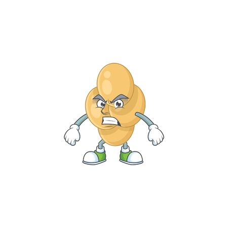 cartoon drawing of bordetella pertussis showing angry face