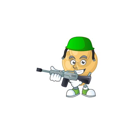 A mascot design picture of bordetella pertussis as a dedicated Army using automatic gun
