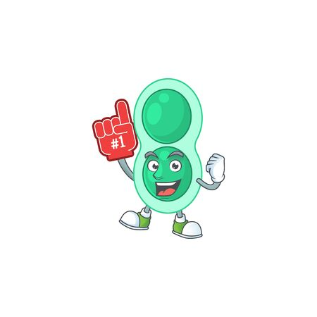 Green streptococcus pneumoniae Cartoon character design style with a red foam finger Illustration