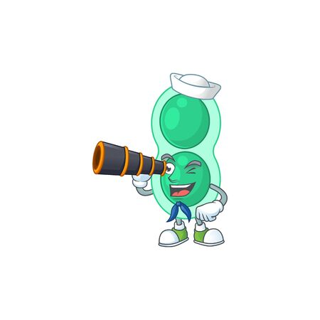 cartoon picture of green streptococcus pneumoniae in Sailor character using a binocular